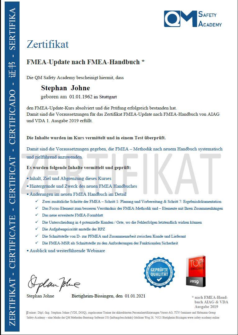 Zertifikat FMEA-update